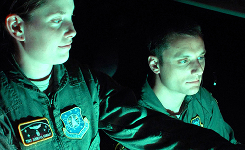 Two Soldiers front lit by the green glow of the monitor they are looking at