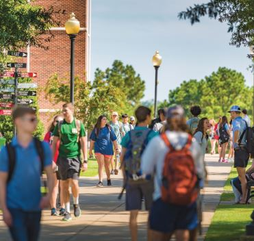 Students walking on the Troy, AL Troy University campus