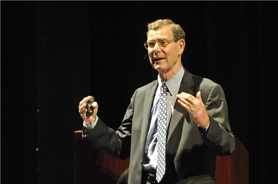Picture of Mr. John Allison during his presentation at Troy University