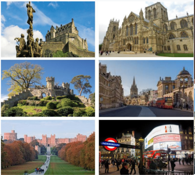 Miltiple photos of study abroad locations in the United Kingdom