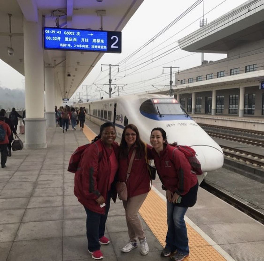 Dr. Price and her students getting ready to board the bullet train in China