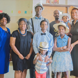 Family participates in BRIDGE's Recipe for Success:  Literacy, Health, and Community