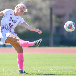Troy University soccer player in action