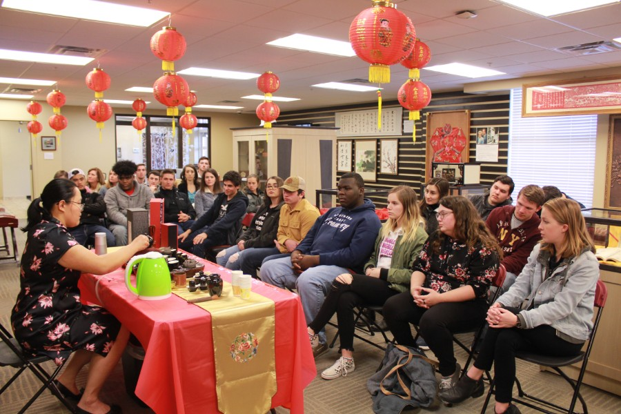Jing He, visiting scholar, presented about Chinese tea ceremony