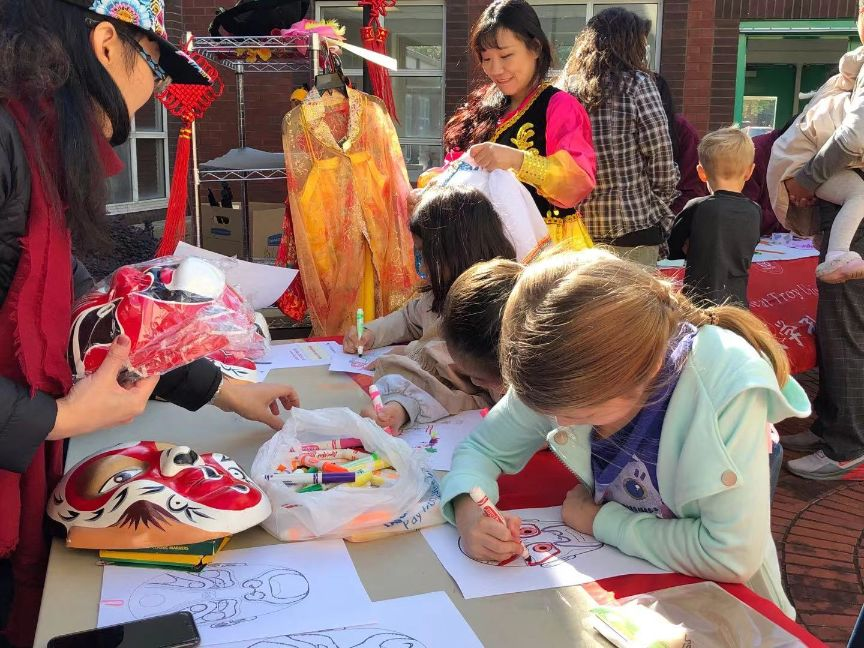 Children learn about and practice Peking Opera Masks.
