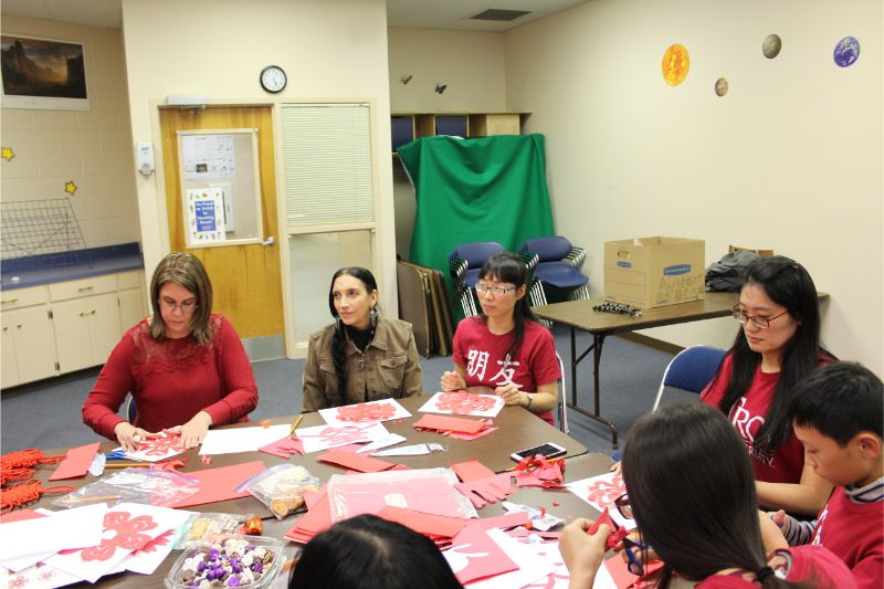 Everyone listens to the history of Chinese New Years and begins working on their decorations.