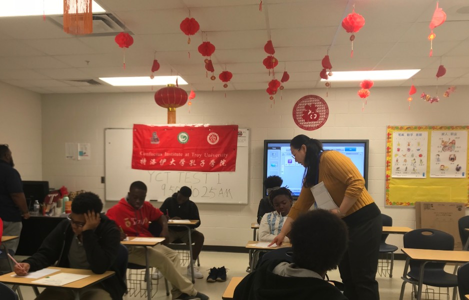 students took YCT Test in Charles Handerson middle school