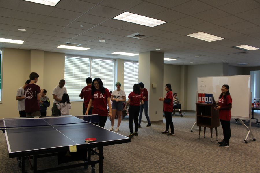 the participants of the table tennis tournament at montgomery campus