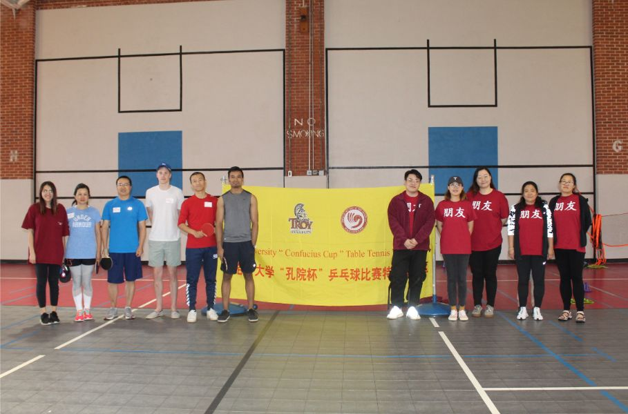 the participants of the table tennis tournament at troy campus
