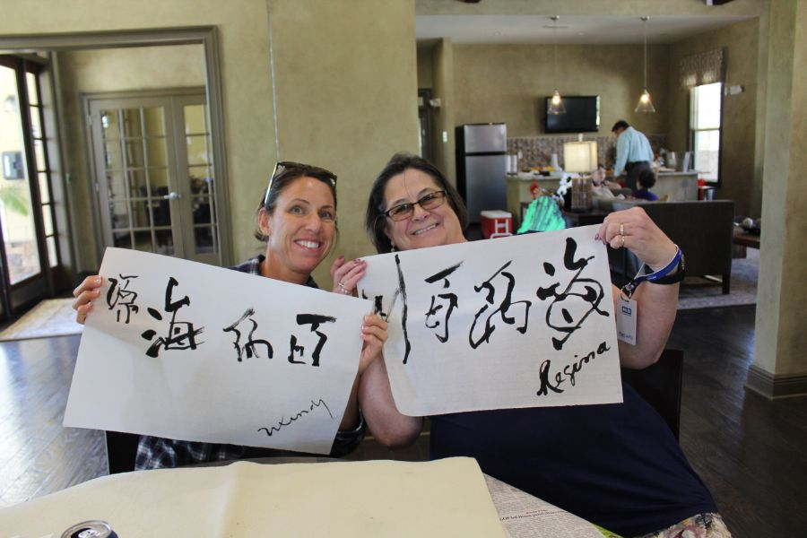 Troy locals showed off their Chinese caligraphy