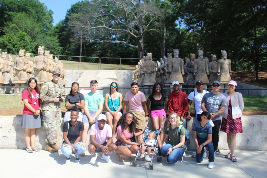 A group picture of everyone visited Terracotta Warriors at the International Art Center on Troy campus.
