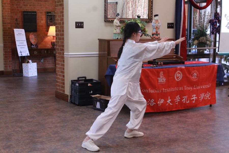 Visiting scholar, Ms. Yu Ma performed tai chi.