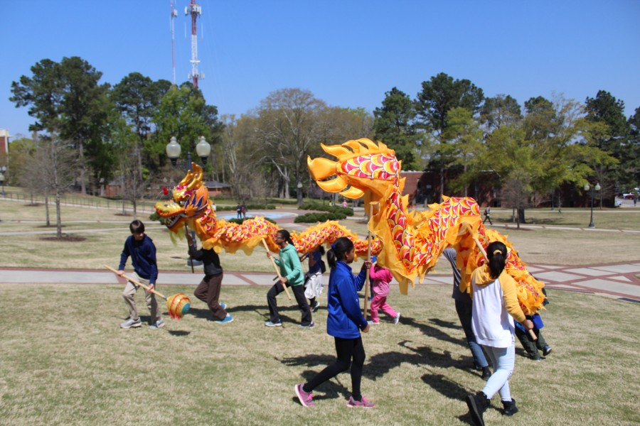 Students had fun with the Lion Dance