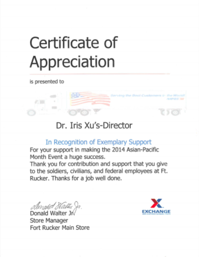thank you letter to dr. xu