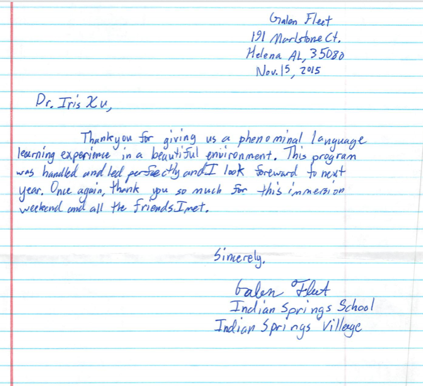thank you letter from a student