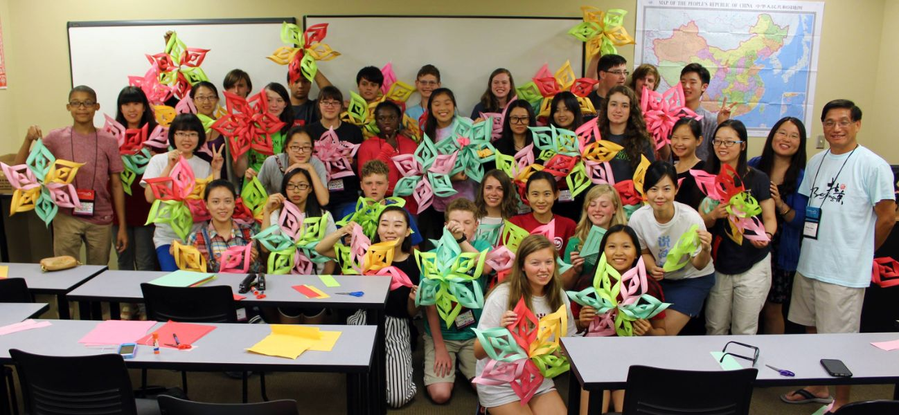 chinese paper cutting class during the summer camp