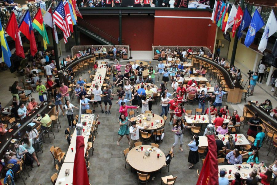 students enjoyed food in Troy university dining hall during the camp
