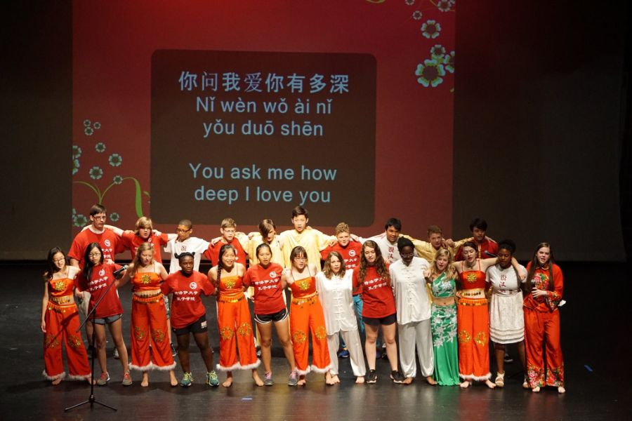 students sang chinese song during the closing ceremony