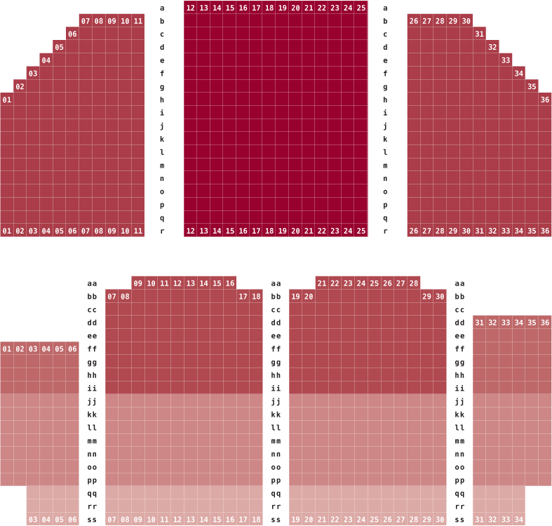 Troy University's Davis Theater seating chart, for more information please call 334-241-9544