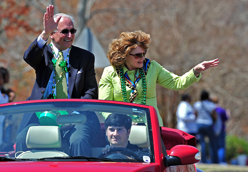 St. Patrick's Day Parade through campus on University Avenue.