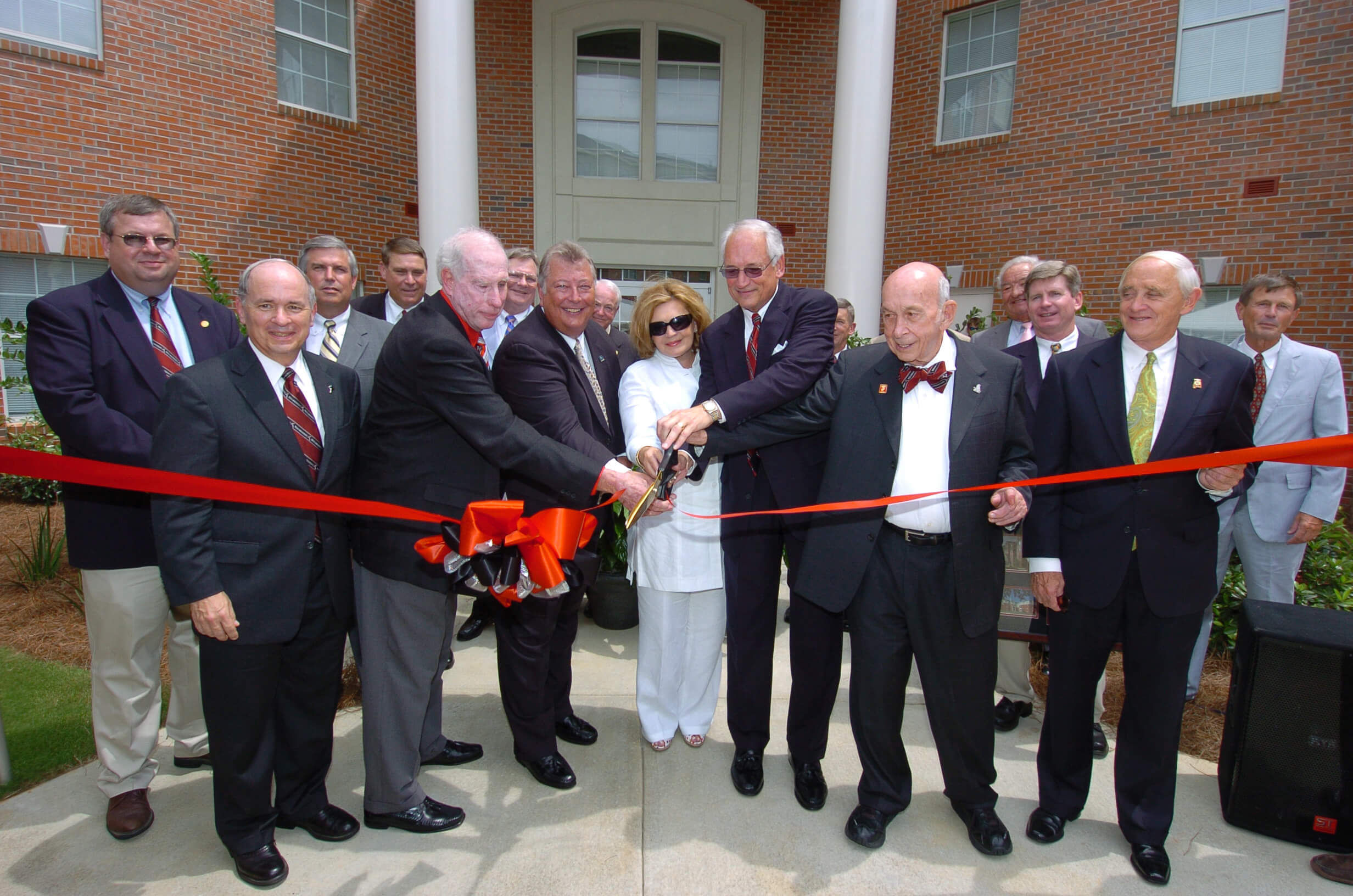 The Chancellor and First Lady are joined by Trustees and other dignitaries to officially open Trojan Village, the University's four-complex, apartment-style residence halls.