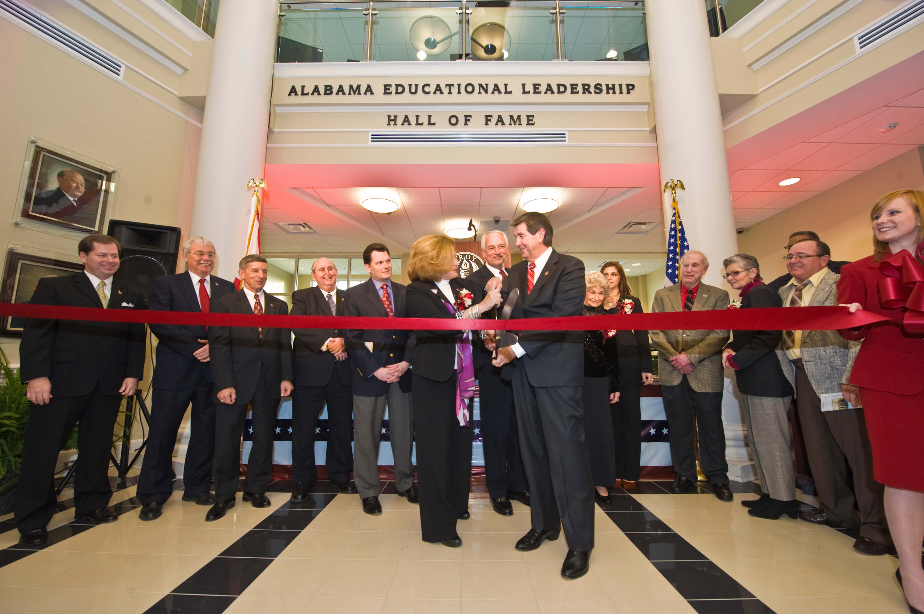 First Lady Janice Hawkins and Gov. Bob Riley officially open Jack Hawkins, Jr. Hall on the Troy Campus.
