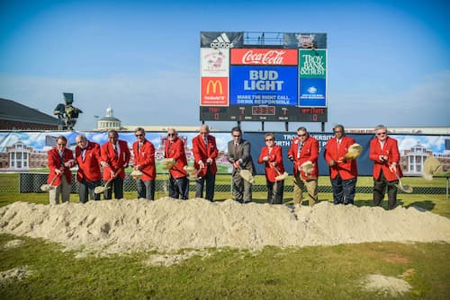 Chancellor Hawkins is joined by University Trustees and then-Director of Athletics Jeremy McLain to break ground on the North End Zone complex – an addition to Veterans Memorial Stadium that will close in the bowl and expand seating and services to student athletes.