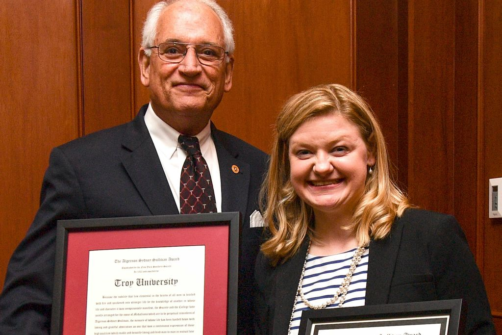 Algernon Sydney Sullivan Female Student Recipient - Sarah Grace Stone, pictured with Dr. Jack Hawkins, Jr.