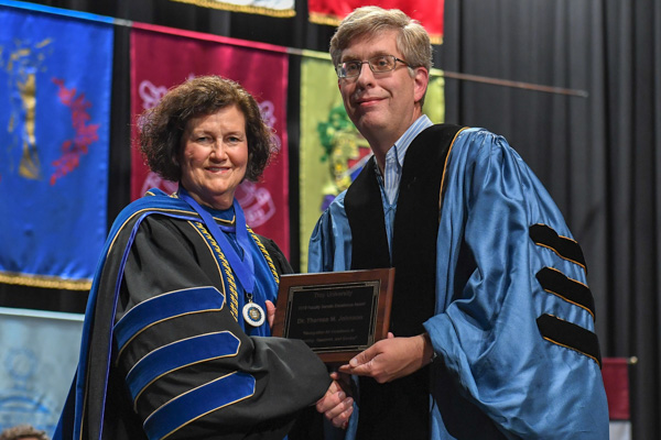 2019 Faculty Senate Award Recipient Dr. Theresa M. Johnson, pictured with Dr. Margaret Gnoinska