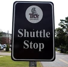 Troy University Shuttle Stop Sign