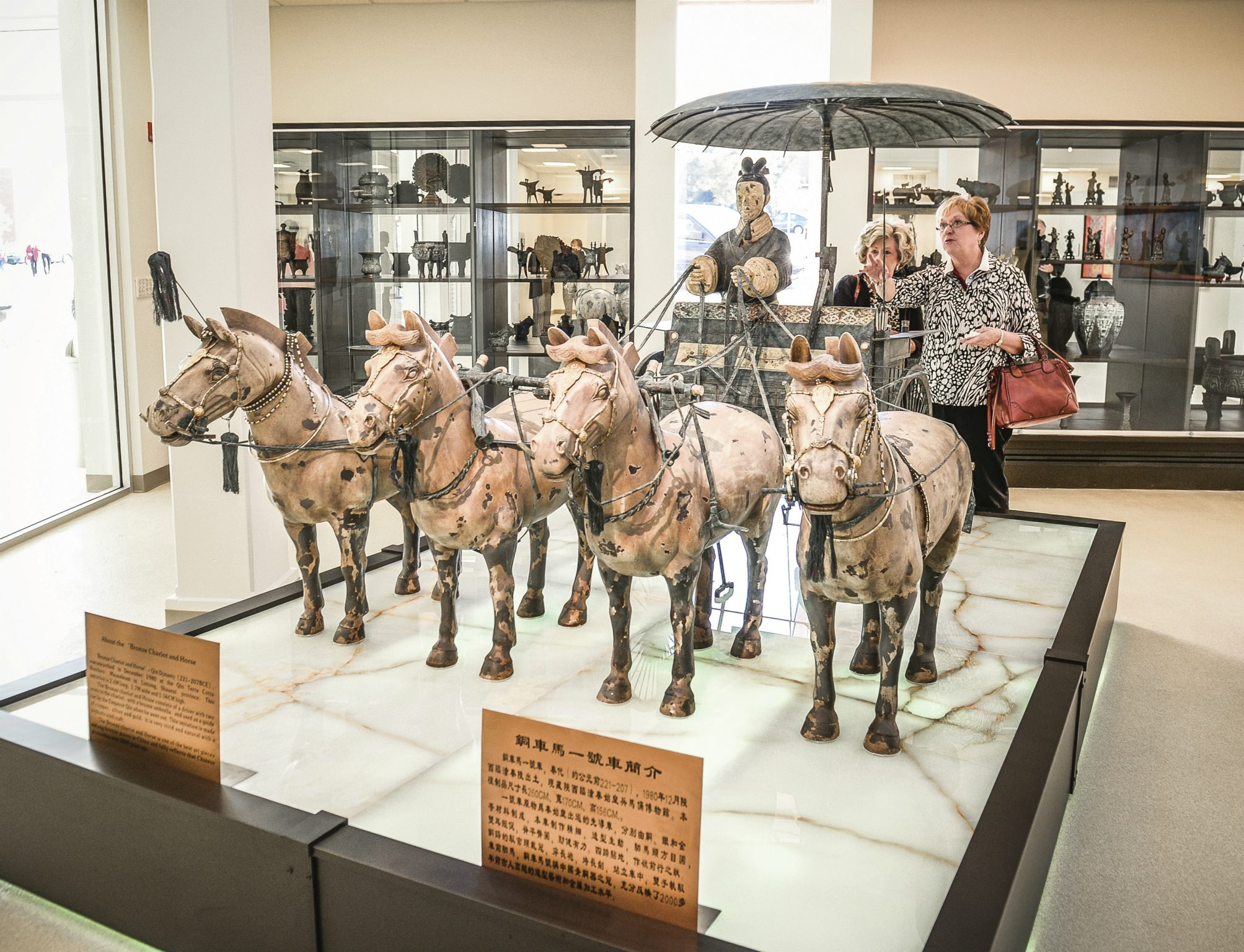 Visitors admire the Horses and Chariot replica on display in the Huo Bau Zhu Gallery.