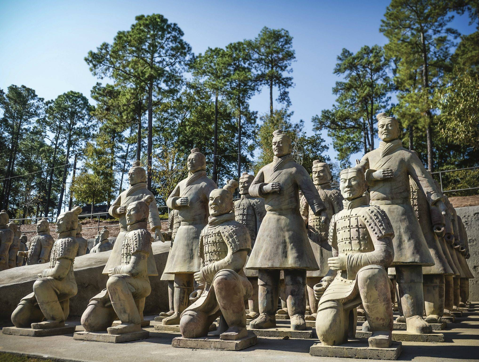 Terra cotta archers kneeling and standing in pit 3 at the Janice Hawkins Cultural Arts Park