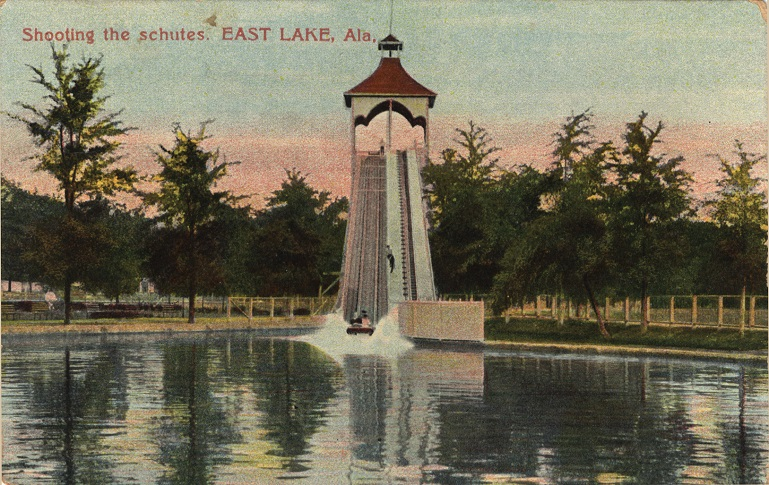 Color print of an amusement ride at East Lake Park in Birmingham, Alabama.