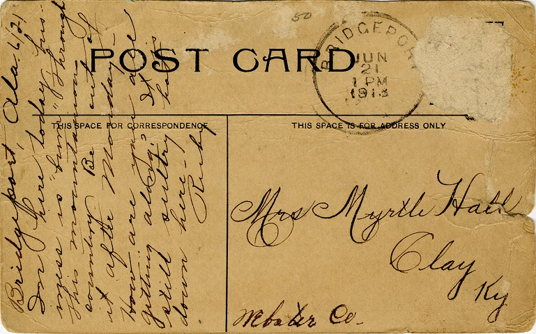 Postcard Back - Aldhous Block, Bridgeport