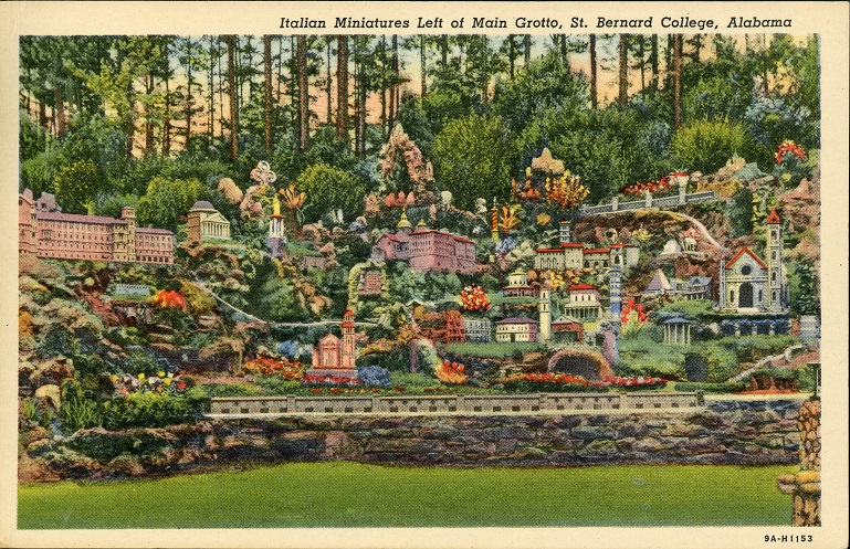 Color print of miniature structures at the Ava Maria Grotto near Cullman, Alabama. Postmarked September 4, 1955.