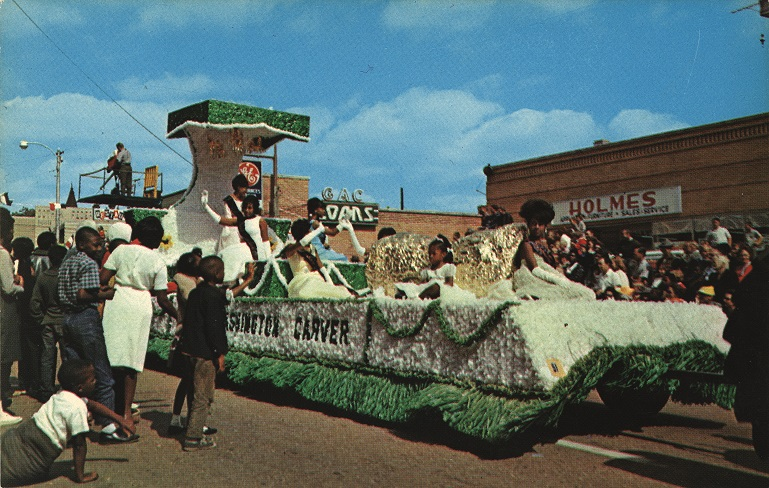 Color photograph of a float in the Peanut Festival Parade in Dothan, Alabama.