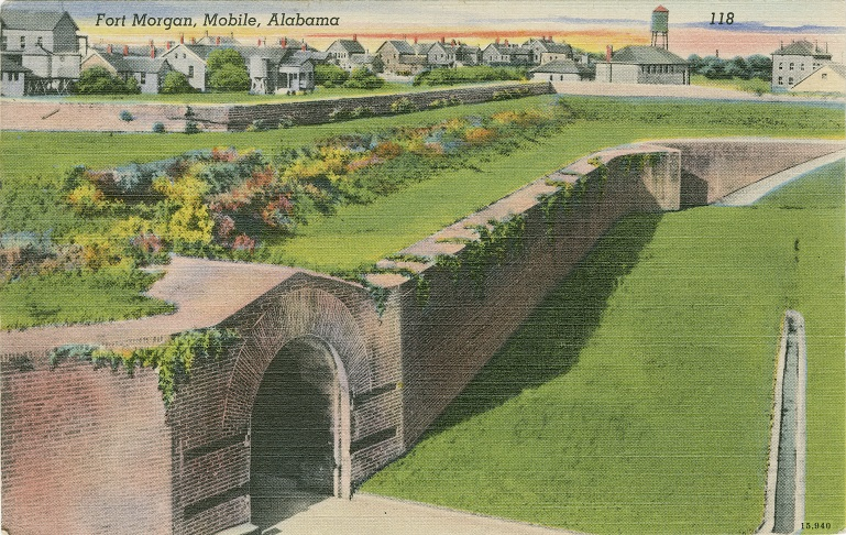 Color print of remnants of Fort Morgan located near Gulf Shores, Alabama. Postmarked July 6, 1943.