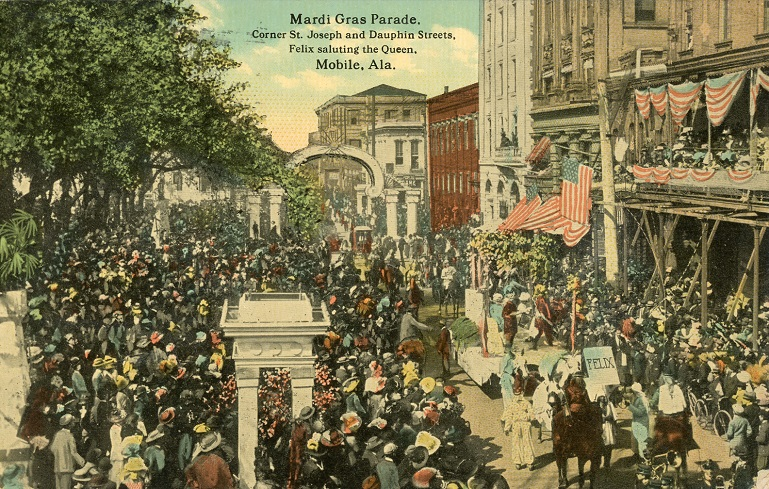 Color photograph of a Mardi Gras Parade in Mobile, Alabama. Postmarked August 6, 1913.