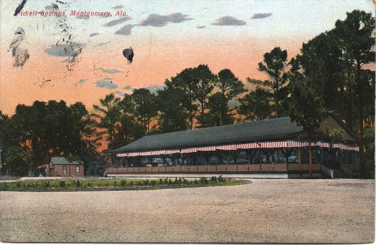 Color print of the pavilion at Pickett Springs located near Montgomery, Alabama. Postmarked April 1, 1909.