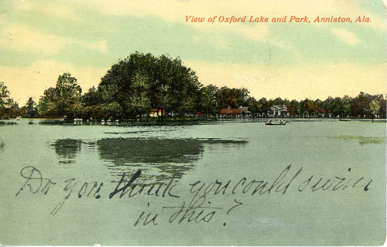 Color print of Oxford Lake and Park in Oxford, Alabama. Postmarked September 2, 1915.