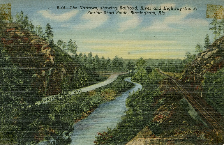 Color print showing a railroad, a river and a highway located near Birmingham, Alabama.