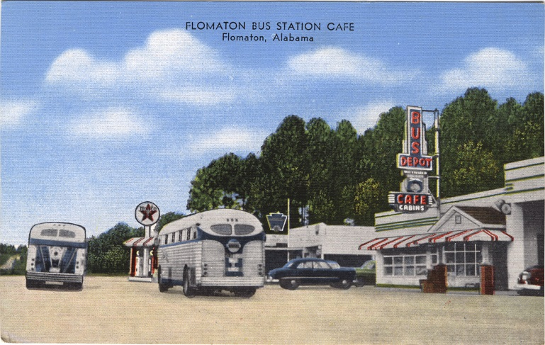Color print of a bus depot, café, gas station and buses in Flomaton, Alabama.
