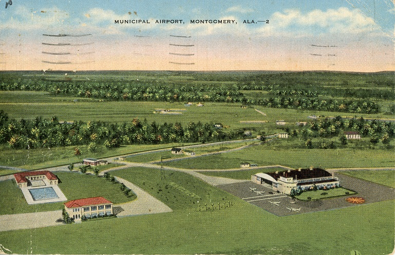 Color print air view of the Montgomery, Alabama municipal airport. Postmarked July 12, 1940.