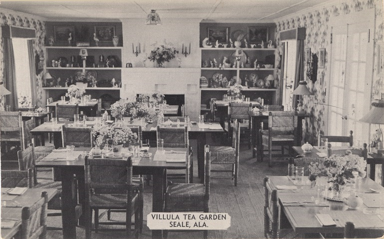 Black and white photograph of the Villula Tea Garden restaurant in Seale, Alabama.