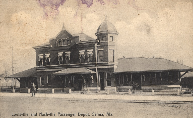Black and white photograph of the two-story Louisville and Nashville Passenger Depot in Selma, Alabama. Postmarked July 30, 1910.