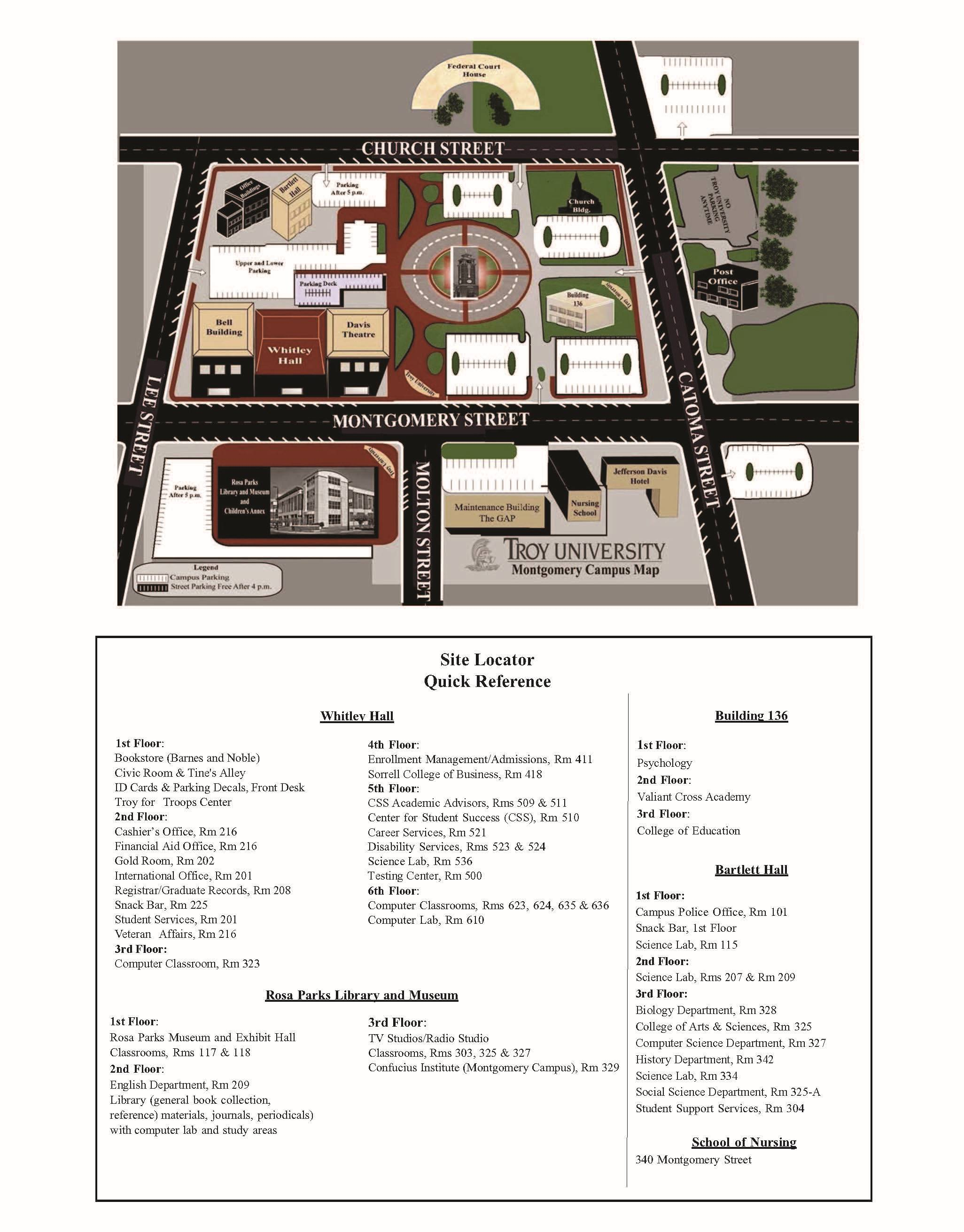 montgomery college campus map Montgomery Campus Map Troy University montgomery college campus map