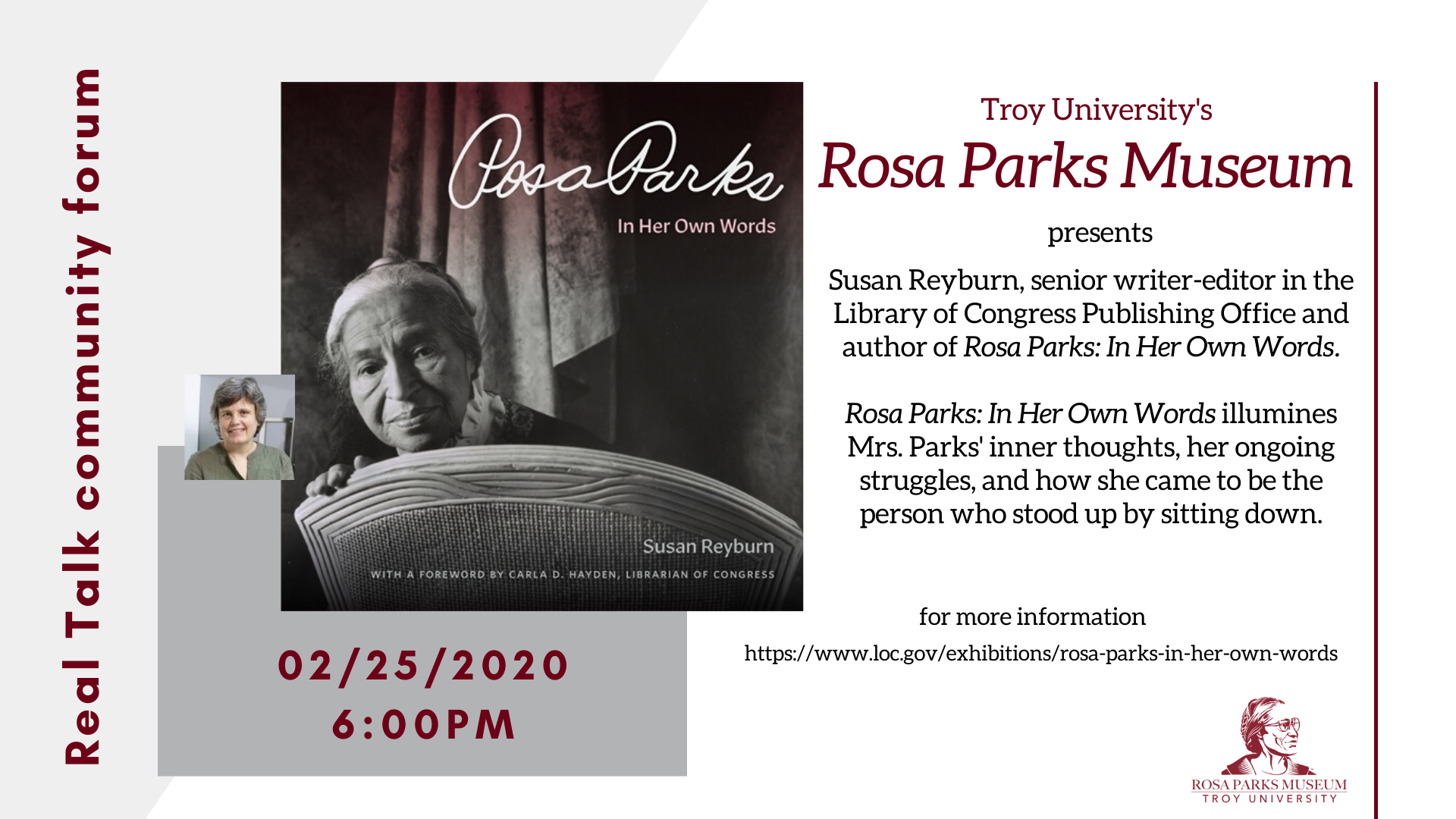 Rosa Parks: In Her Own Words by Susan Reyburn.  Book Talk, Feb. 25 at 6:00PM