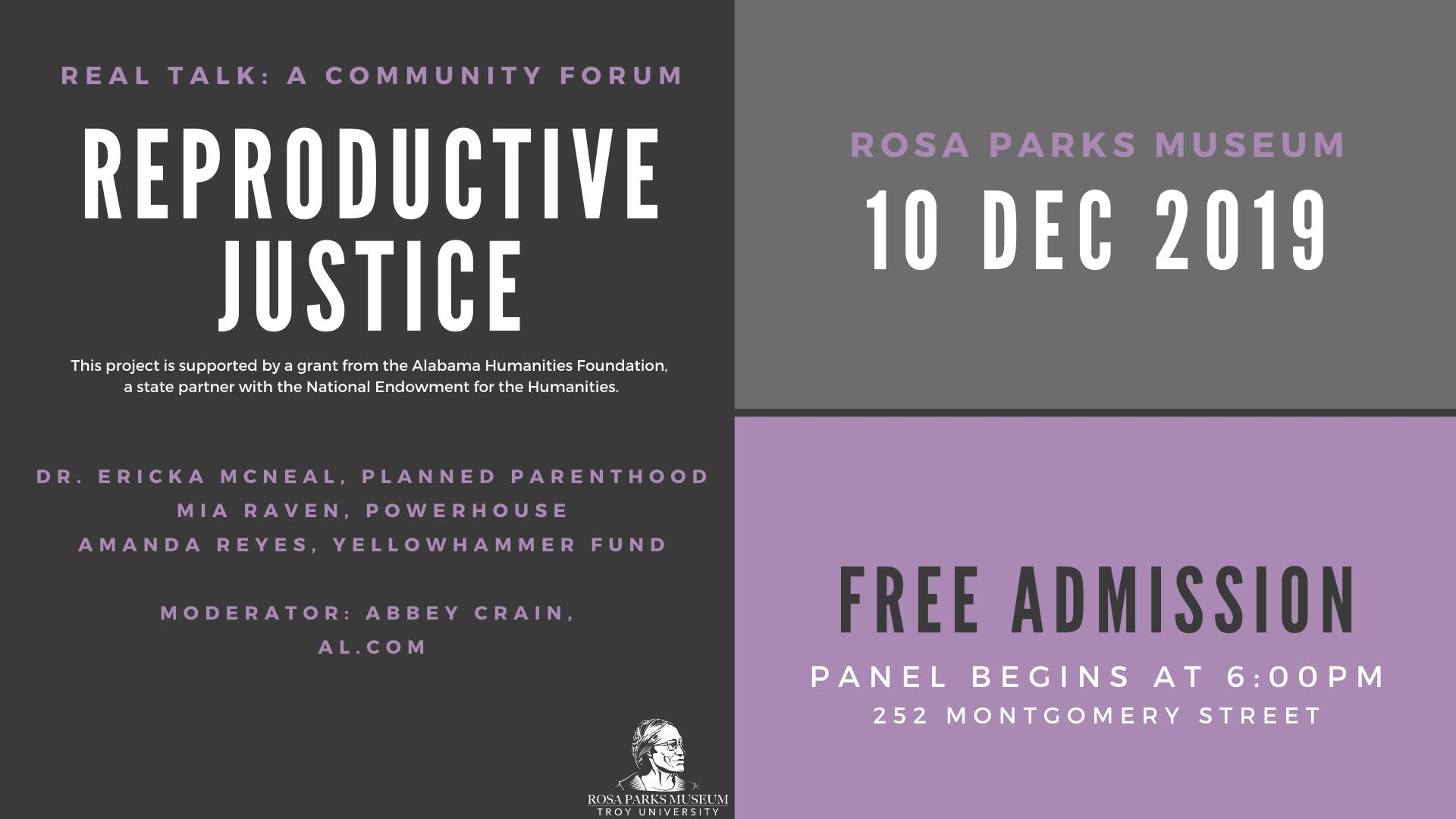 Real Talk Community Forum, Reproductive Justice, December 10, 2019 at 6:00PM, Rosa Parks Museum