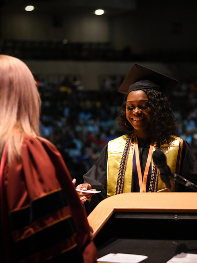 Student graduating at Troy University