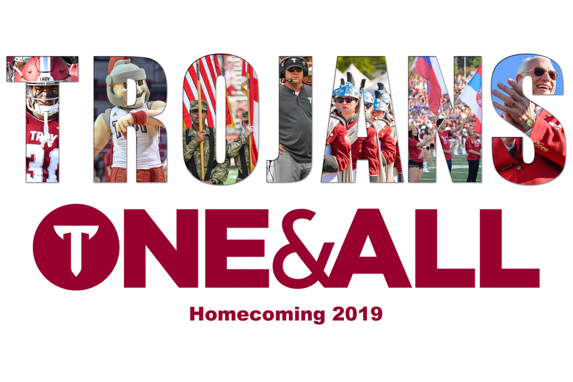 TROJANS One & All Homecoming logo 2019